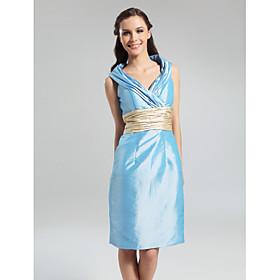 Sheath/ Column V-neck Knee-length Taffeta Bridesmaid Dress