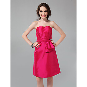 A-line Strapless Knee-length Taffeta Bridesmaid Dress