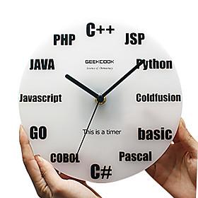 Creative Programming Language Pattern Wall Mounted Analog Clock