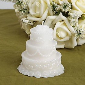 White Wedding Cake Candle Favors (set of 4)