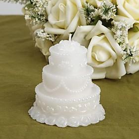 White Wedding Cake Candle Favors (set of 4)