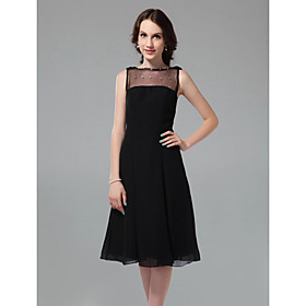 A-line Bateau Knee-length Chiffon Matte Satin Cocktail Dress