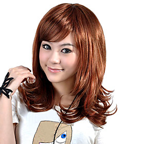 Capless Medium Length High Quality Synthetic Brown Curly Hair Wig