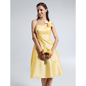 A-line One Shoulder Knee-length Taffeta Bridesmaid Dress