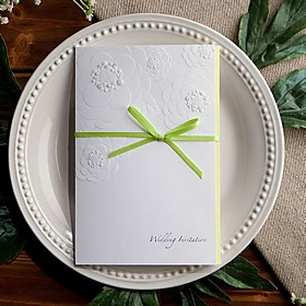 Embossed Invitation with Sage Bow (set of 50)