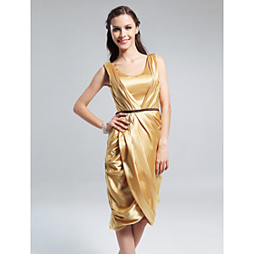 Elastic Silk-like Satin Sheath/ Column Scoop Knee-length Cocktail Dress inspired by Emmy Rossum