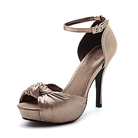 Satin Upper High Heel Sandals Party Shoes.More Colors Available