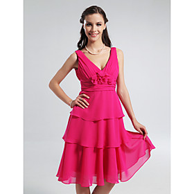 A-line V-neck Knee-length Tiered Chiffon Bridesmaid Dress