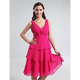 A-line V-neck Knee-length Tiered Chiffon Bridesmaid Dress