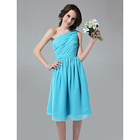 A-line One Shoulder Knee-length Side-Draped Chiffon Bridesmaid Dress