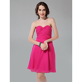 A-line Princess Sweetheart Knee-length Chiffon Bridesmaid Dress With Criss-Cross Bodice