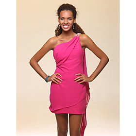 Sheath/ Column One Shoulder Short/ Mini Watteau Train Chiffon Cocktail Dress