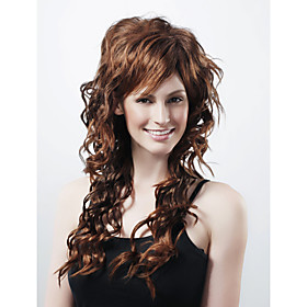Capless Extra Long Synthetic Brown Curly Hair Wig