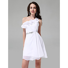 A-line One Shoulder Sleeveless Short/ Mini Chiffon Cocktail Dress