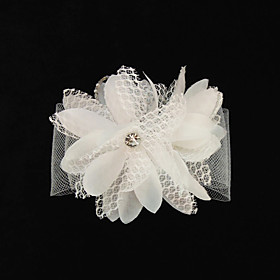 Gorgeous Tulle/Silk Flower With Rhinestones Wedding Bridal Headpiece