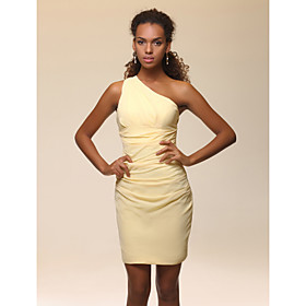 Elastic Woven Satin Sheath/ Column One Shoulder Short/ Mini Cocktail Dress inspired by Scarlett Johansson