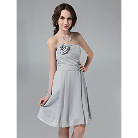 Princess Sheath/ Column Strapless Knee-length Chiffon Bridesmaid Dress
