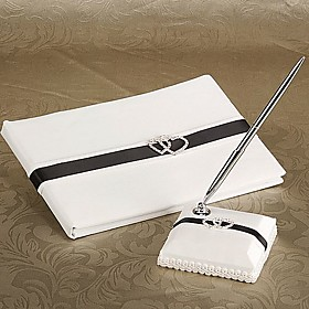 Deluxe Loving Hearts Wedding Guest Book And Pen Set