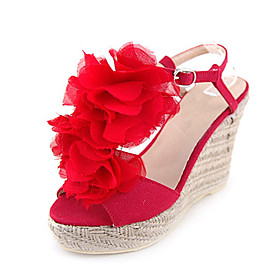 Fabric Upper Wedge Heel Platform With Flower Party/ Evening Shoes More Colors Available