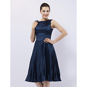 Elastic Woven Satin A-line Bateau Knee-length Evening Dress inspired by Sex and the City