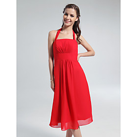 A-line Halter Square Knee-length Chiffon Bridesmaid Dress