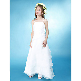 A-line Princess Spaghetti Straps Floor-length Organza Over Satin Junior Bridesmaid Dress