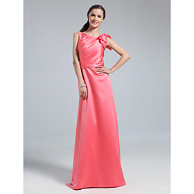 Sheath/ Column Bateau Floor-length Satin Bridesmaid Dress