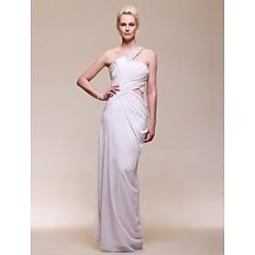 Sheath/ Column One Shoulder Floor-length Side-Draped Chiffon Evening Dress