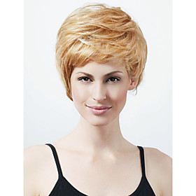 Capless Short High Quality Synthetic Natural Look Light Blonde Straight Hair Wig