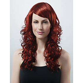 Capless Extra Long High Quality Synthetic Red Wine Curly Hair Wig 0463-453