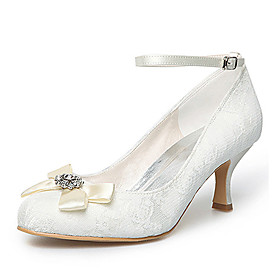 Satin Upper Mid Heel Closed-toes With Satin Flower Wedding Bridal Shoes