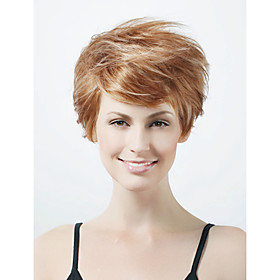 Capless Short High Quality Synthetic Natural Look Golden Brown With White Straight Hair Wig