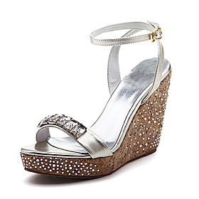 Top Quality Real Leather Upper High Heels Wedge Heels With Rhinestone Special Occasion Shoe/ Fashion Shoe (0985-K888)