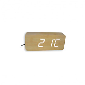 Fashion Wooden White LED Alarm Clock with Thermometer (TRA079)