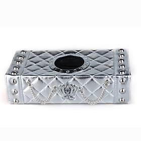 Practical Luxury Car Tissue Box Cover Quilting Leather Style - Silver