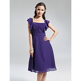 A-line Square Knee-length Chiffon Bridesmaid Dress