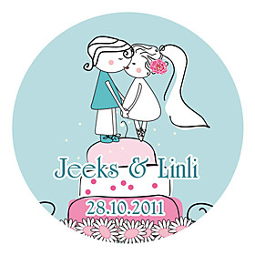 Personalized Favor Stickers - Kissing (pack of 90)