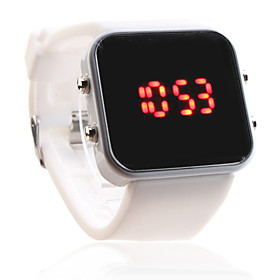 Unisex Silicone Style Sports Red LED Wrist Watch (White)