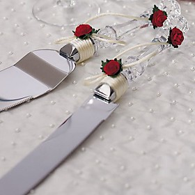 Crystal Red Roses Wedding Cake Serving Set