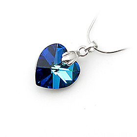 Heart Shaped Crystal And 925 Sterling Silver With Platinum Plated Pendant - Dark Blue