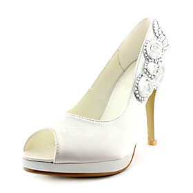 Satin Upper Stiletto Heel Peep Toe/ Pumps With Rhinestone/ Satin Flower Wedding Bridal Shoes