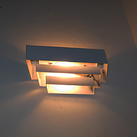 White Metal Wall Sconce Square Shaped