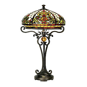 Exquisite Tiffany style Stained Glass Table Lamp with 2 Lights