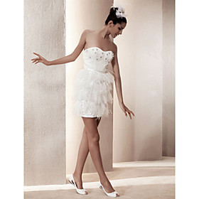 Sheath/ Column Sweetheart Short/ Mini Satin Wedding Dress