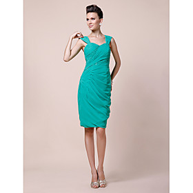 Sheath/ Column Sweetheart Straps Knee-length Chiffon Mother of the Bride Dress