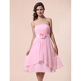 A-line Princess Strapless Knee-length Chiffon Bridesmaid Dress
