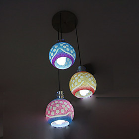 Globe Shaped 3-Light Bar Pendant Light with Colorful Lamp