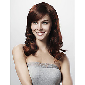 Capless Long Body Curl Brown Synthetic Wig Side Bang