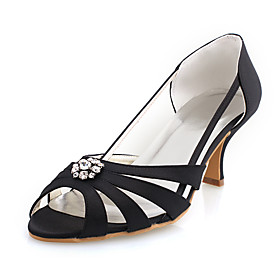 Top Quality Satin Upper Mid Heel Peep-toes With Rhinestone Wedding Shoes/ Bridal Shoes .More Colors Available
