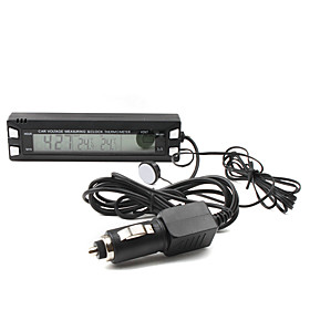 Car Clock Theromometer with LCD Display with Car Charger and Magic Tape